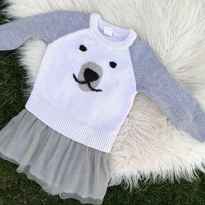 GAP baby polar bear tutu sweater dress 12-18 month